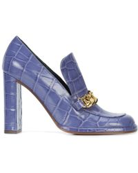 Mulberry - Crocodile Embossed Chain Loafers - Lyst