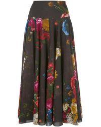 Samantha Sung Aster Black Rembrandt Pattern Skirt