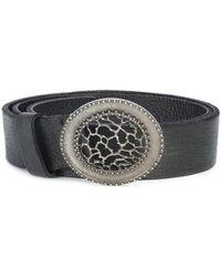 Scunzani Ivo - Black Leather Round Buckle Belt - Lyst