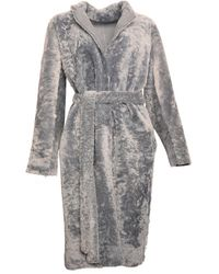 Karl Donoghue Reversible Lambskin Belted Coat - Gray