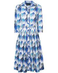 Samantha Sung - Cobalt Audrey#2 Midi Leaf Eching Buttoned Dress - Lyst