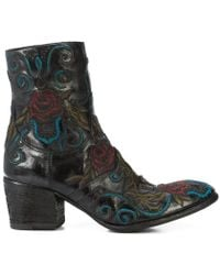 Fauzian Jeunesse - Black Leather Floral Embroidered Ankle Boot - Lyst