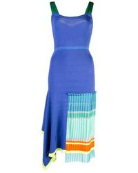 i-am-chen Blue Knit Pleated Dress