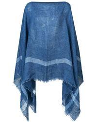 Destin Striped Poncho - Blue