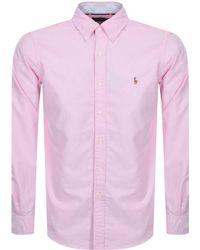 Ralph Lauren - Long Sleeved Oxford Shirt Pink - Lyst