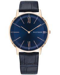 Tommy Hilfiger 1791515 Men's Cooper Leather Strap Watch - Blue