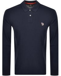 Paul Smith Ps By Long Sleeved Polo T Shirt - Blue