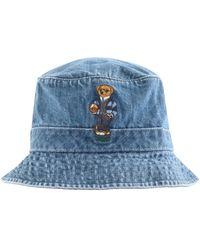 Ralph Lauren Polo Bear Bucket Hat Blue