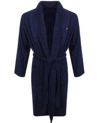 Lyle & Scott Hamish Dressing Gown Navy - Blue