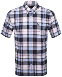 Fred Perry - Short Sleeved Madras Check Shirt Pink - Lyst