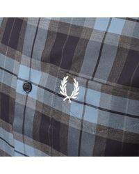 Fred Perry Tartan Long Sleeved Shirt - Blue