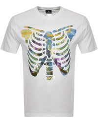 Paul Smith Ps By Floral Ribs T Shirt - White