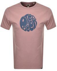 Pretty Green Gillespie Logo T Shirt Pink