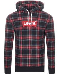 Levi's - Modern Logo Checked Hoodie Black - Lyst
