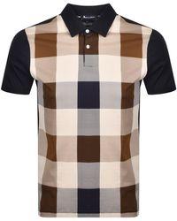 Aquascutum Abner Short Sleeve Navy Collar Large Check Polo Shirt - Blue