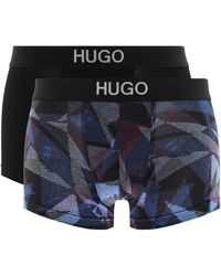 HUGO Two Pack Brother Boxer Trunks - Black