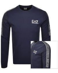 EA7 Emporio Armani Crew Neck Logo Sweatshirt - Blue