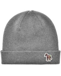 02848adc5df Paul Smith - Grey  zebra  Logo Ribbed Lambswool Beanie Hat - Lyst