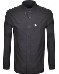 Fred Perry Long Sleeved Oxford Shirt - Grey