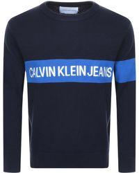 Calvin Klein - Jeans Institutional Knit Jumper Navy - Lyst