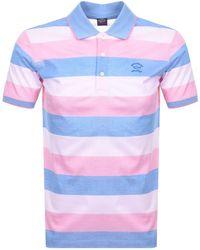 Paul & Shark Paul And Shark Striped Polo T Shirt - Pink