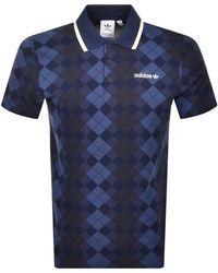 adidas Originals Argyle Polo T Shirt - Blue