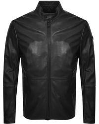 Armani Emporio Leather Biker Jacket Black