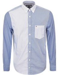 Tommy Hilfiger - Mixed Stripe Shirt Blue - Lyst