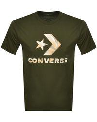 Converse Star Chevron Camouflage Logo T Shirt Khak - Green