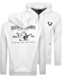 True Religion Double Puff Full Zip Hoodie - Grey