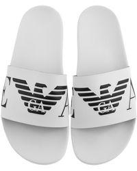 Armani Emporio Logo Sliders - White