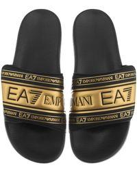 EA7 Emporio Armani Logo Sliders - Black