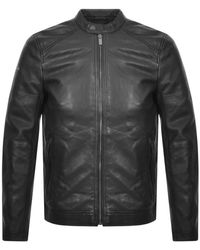 Superdry Leather Racer Jacket - Black