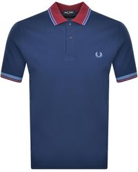 Fred Perry Twin Tipped Polo T Shirt - Blue