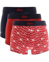 Lacoste Underwear Triple Pack Boxer Trunks - Blue