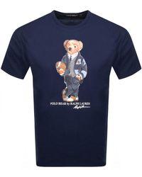 Ralph Lauren Crew Neck Bear T Shirt - Blue