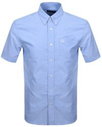 Fred Perry - Short Sleeved Oxford Shirt Blue - Lyst