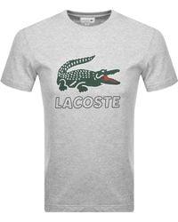 Lacoste Crew Neck Logo T Shirt - Gray
