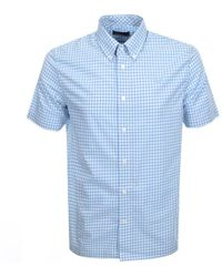 Fred Perry Short Sleeved Gingham Shirt Blue