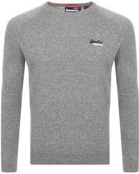 Superdry Orange Label Crew Neck Knit Sweater Gray