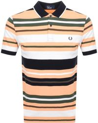 Fred Perry Bold Stripe Polo T Shirt Orange