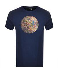 Pretty Green Paisley Football Logo T Shirt - Blue