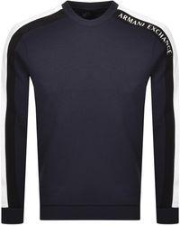 Armani Exchange Crew Neck Logo Sweatshirt - Blue
