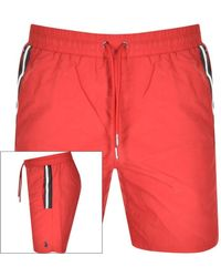 Luke 1977 Caen Striped Detail Swim Shorts - Red
