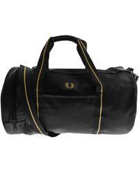Fred Perry Texture Barrel Bag - Black