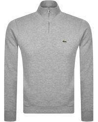 Lacoste Half Zip Logo Sweatshirt - Gray