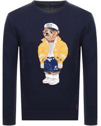 Ralph Lauren Bear Knit Sweater - Blue
