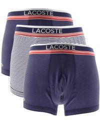 Lacoste - Underwear Triple Pack Boxer Trunks Navy - Lyst