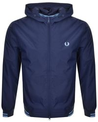 Fred Perry - Tipped Hooded Jacket Navy - Lyst