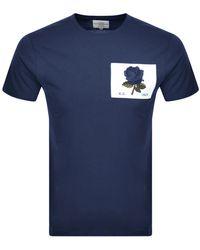 Kent & Curwen Rose Patch Icon T Shirt - Blue